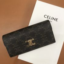 CELINE Triomphe Canvas Logo Long Wallets