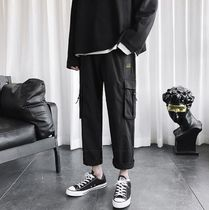 Street Style Plain Cotton Oversized Cropped Pants