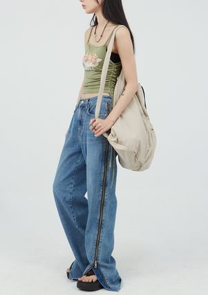 Raucohouse Unisex Street Style Collaboration Plain Bags