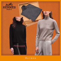 HERMES Casual Style Cashmere Silk Blended Fabrics Long Sleeves