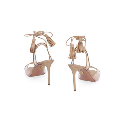 Open Toe Plain Leather Pin Heels Elegant Style Sandals