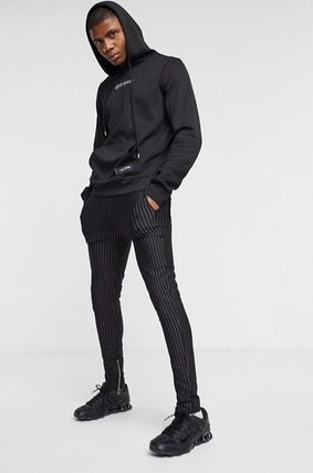 Stripes Street Style Logo Men Skinny Pants