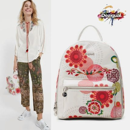 Flower Patterns Casual Style Faux Fur 2WAY Elegant Style