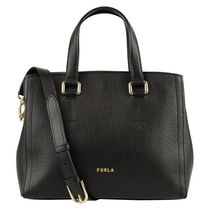 FURLA Casual Style Unisex 2WAY Plain Leather Party Style