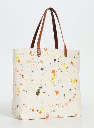 Casual Style Canvas A4 Plain Leather Office Style Totes
