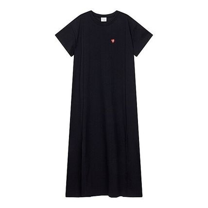 Crew Neck Casual Style Street Style Plain Cotton Long