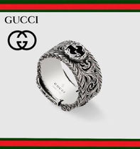 GUCCI Unisex Silver Logo Rings