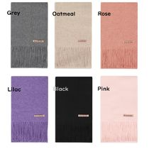 Ance Studios Wool Plain Logo Knit & Fur Scarves