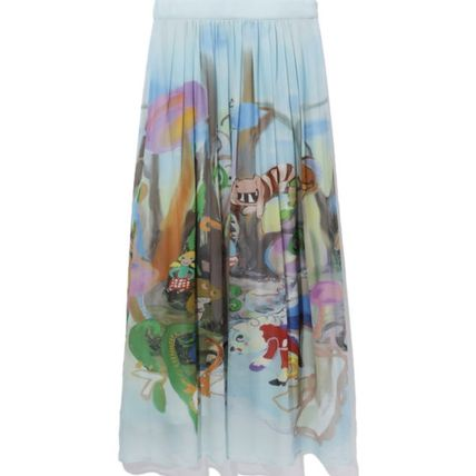 Flared Skirts Casual Style Silk Other Animal Patterns Long