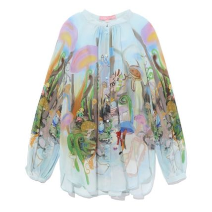 Silk Long Sleeves Other Animal Patterns Shirts & Blouses