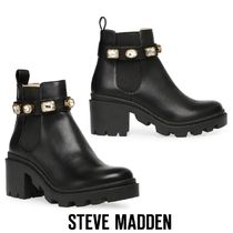 Steve Madden Blended Fabrics Plain Leather Boots Boots