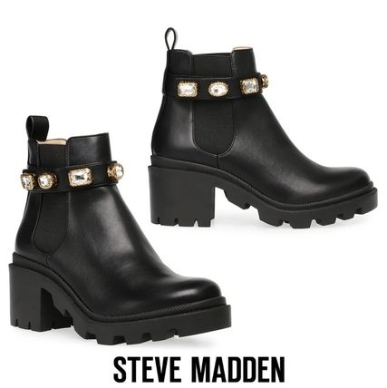 Blended Fabrics Plain Leather Boots Boots