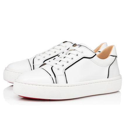 Christian Louboutin Plain Toe Rubber Sole Casual Style Leather Low-Top Sneakers