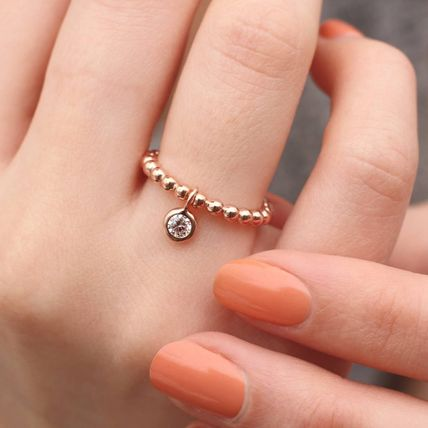 Street Style Party Style 18K Gold With Jewels Elegant Style