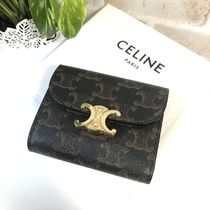 CELINE Triomphe Monogram Folding Wallet Logo Folding Wallets