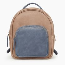 Roots Casual Style Bi-color Leather Icy Color Backpacks