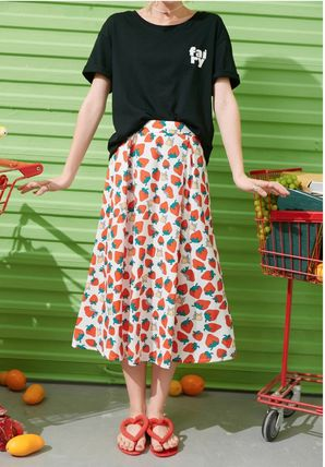 ELF SACK Formal Style  Flared Skirts Casual Style Medium Long
