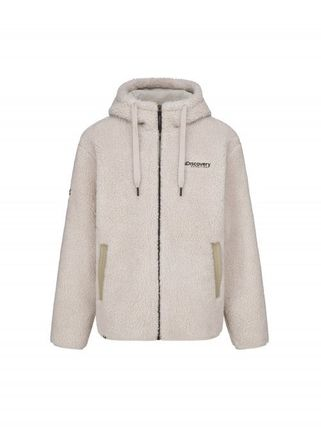 Unisex Street Style Plain Shearling Logo Fleece Jackets