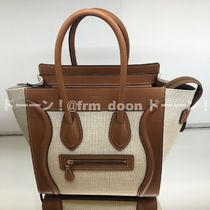CELINE Luggage Casual Style Calfskin Canvas 2WAY Bi-color Plain Leather