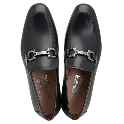 Salvatore Ferragamo Loafers Suede Plain Leather Logo Loafers & Slip-ons