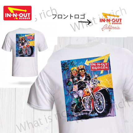 IN-N-OUT BURGER Crew Neck Unisex Street Style Cotton Short Sleeves Logo
