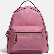 Coach Campus BagPack Casual Style Studded Plain Leather Backpacks