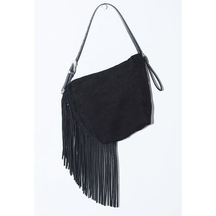 Suede Street Style Plain Leather Elegant Style Shoulder Bags