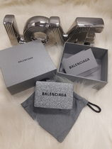 BALENCIAGA EVERYDAY TOTE Leather Small Wallet Logo Folding Wallets