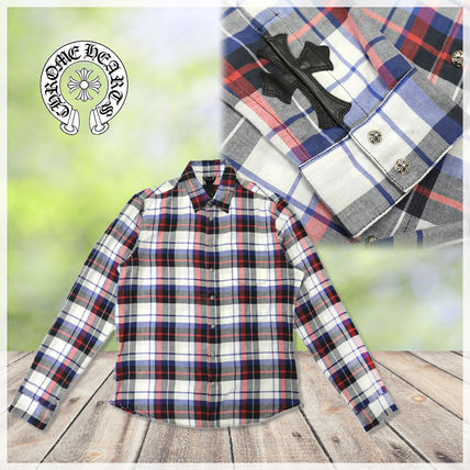 CHROME HEARTS Other Plaid Patterns Long Sleeves Leather Cotton Shirts