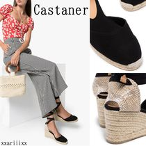 Castaner Lace-up Casual Style Blended Fabrics Plain Block Heels