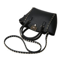 VALENTINO Studded Plain Leather Handbags