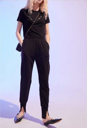 ELF SACK Casual Style Street Style Plain Cotton Long Slit Pants