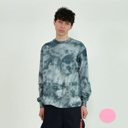 Crew Neck Unisex Street Style Tie-dye Long Sleeves Cotton