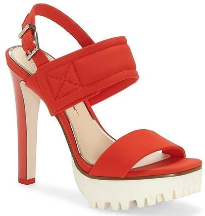 Open Toe Platform Casual Style Plain Pin Heels Party Style