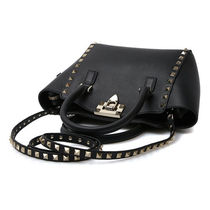 VALENTINO Studded Plain Leather Logo Handbags