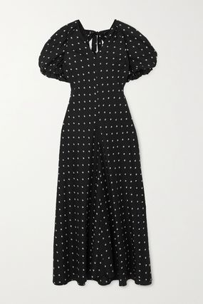 Flower Patterns Casual Style Maxi A-line Silk Dolman Sleeves
