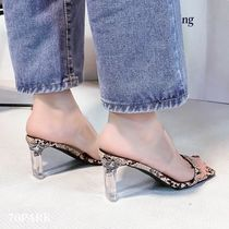 Square Toe Casual Style Faux Fur Street Style PVC Clothing