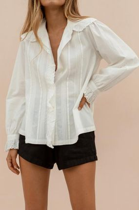 Long Sleeves Plain Cotton Lace Puff Sleeves Shirts & Blouses