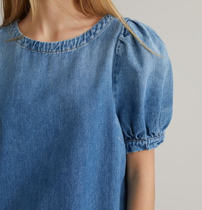 Short Casual Style Denim Plain Cotton Medium Short Sleeves