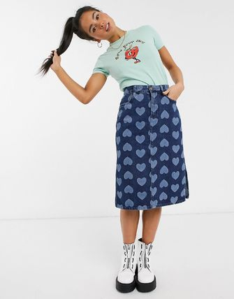 Pencil Skirts Heart Casual Style Denim Cotton Long