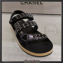 CHANEL SPORTS Open Toe Platform Rubber Sole Casual Style Blended Fabrics