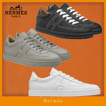 HERMES Unisex Street Style Plain Leather Sneakers