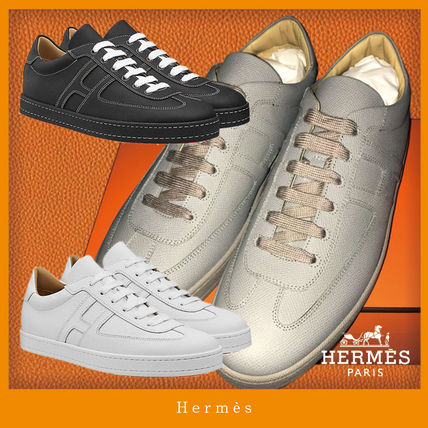 HERMES BOOMERANG Unisex Plain Leather Street Style Sneakers