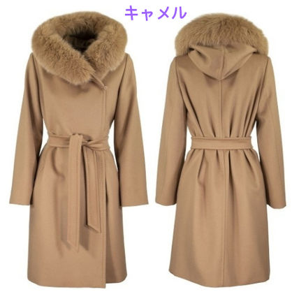 Max Mara Studio Wool Plain Medium Elegant Style Coats