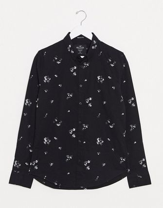 Button-down Flower Patterns Long Sleeves Cotton Shirts