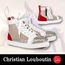 Christian Louboutin Stripes Platform Plain Toe Rubber Sole Lace-up Casual Style