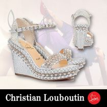 Christian Louboutin Open Toe Platform Casual Style Blended Fabrics Studded