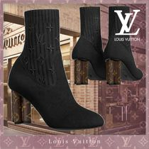 Louis Vuitton MONOGRAM Monogram Casual Style Blended Fabrics Leather Block Heels