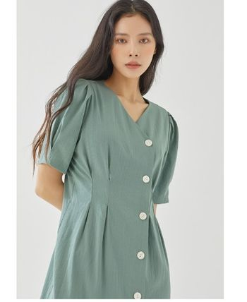 Wrap Dresses Casual Style A-line Flared V-Neck Long Sleeves