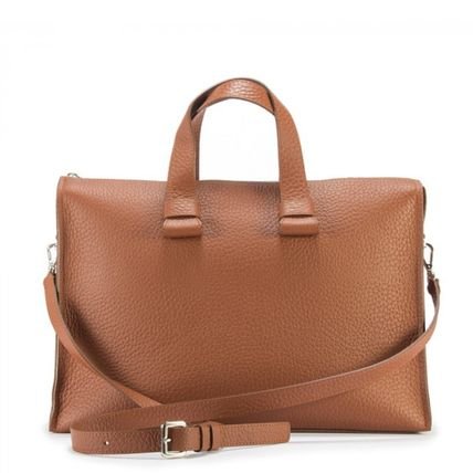 Casual Style A4 Plain Leather Office Style Crossbody